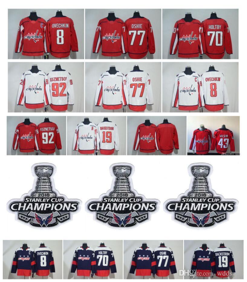 55111db10 2019 NHL Washington Capitals Alex Ovechkin Jersey TJ Oshie Evgeny Kuznetsov  Braden Holtby Backstrom Hockey With 2018 Stanley Cup Champion Patch From ...