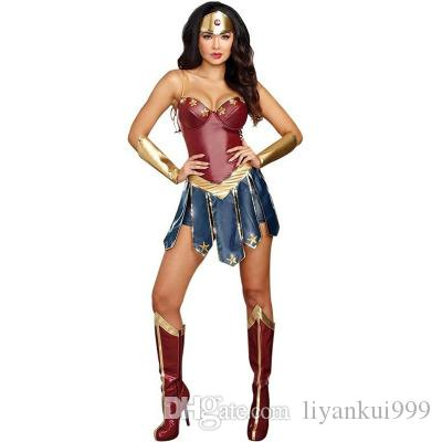 563af143 Hot Wonder Woman Costume Sexy Superher Costumes Halloween Role Playing  Fantasia Party Cosplay Superman Bodysuit With Foot Cover S 2XL Halloween  Costume For ...