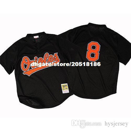 save off e9649 9c0c0 Cheap Mitchell & Ness Baltimore #8 Cal Ripken Jr Mesh BP Black Jersey Top  Retro Mens stitched baseball jerseys