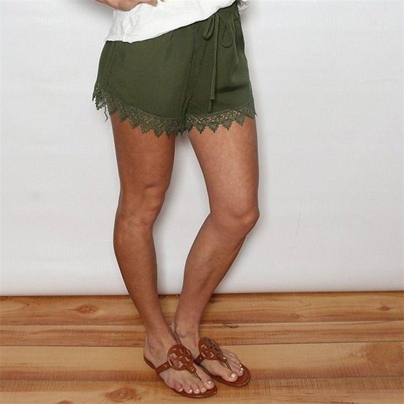 6b064c7e54 High Waist Lace Up Patchwork Women's Short Pants Cuffs White Black Loose  Trousers For Women 2019 Summer Beach Clothes Woman 4EM