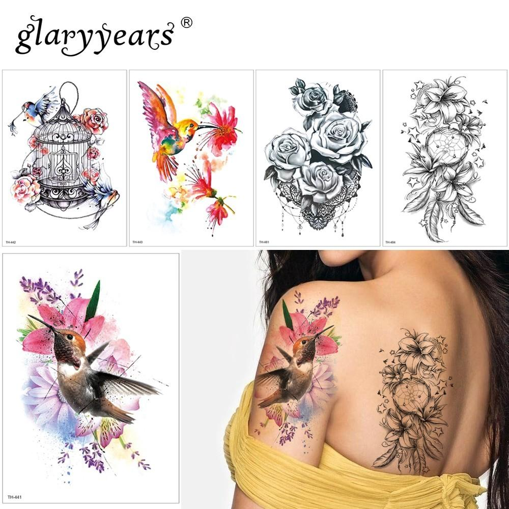 de789f81106c8 Glaryyears 1 Sheet Temporary Tattoo Sticker Sexy Fake Tatoo Flower Flash  Tatto Waterproof Small Body Art Men Women TH Link 15 Tattoo Temporary Tattoo  ...