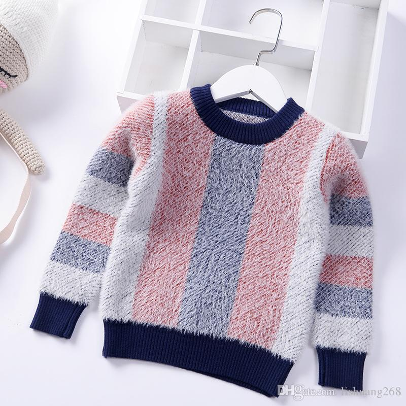 fb25062bf70 2019 New Autumn Winter Thick Warm Stripes Girls Sweater Baby Boys Pullover  Mink Velvet Knit Kids Clothes Children Clothing Child Sweater Pattern  Knitting ...