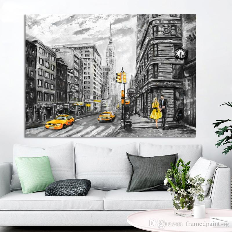 1 Pcs Abstract Landscape Posters and Prints on Canvas Wall Art Oil Painting New York City View Picture for Living Room No Frame