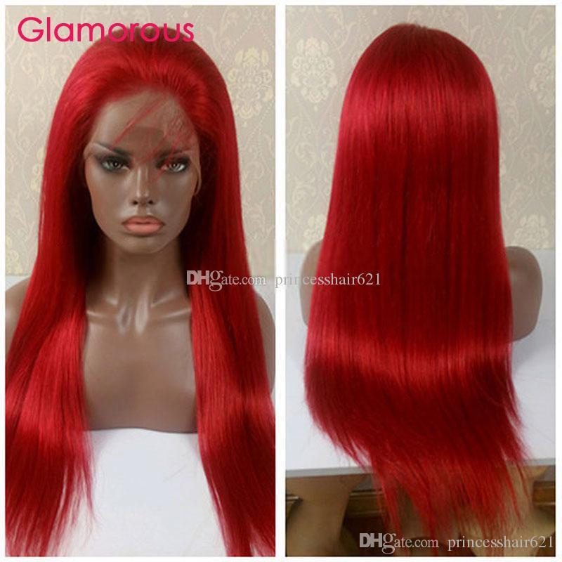Acheter Perruque Rouge Perruque De Cheveux Humains Péruvienne Brésilienne  Indienne Malaisienne Droite Cheveux Glamour Courte   Longue Pleine Perruque  De ... 173bc66fda89
