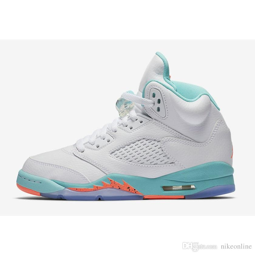 premium selection 95d5c 10ead Cheap womens retro 5s basketball shoes aj5 Wolf Grey Lava light aqua white  cement j5 boys girls youth kids jumpman v sneakers boots with box