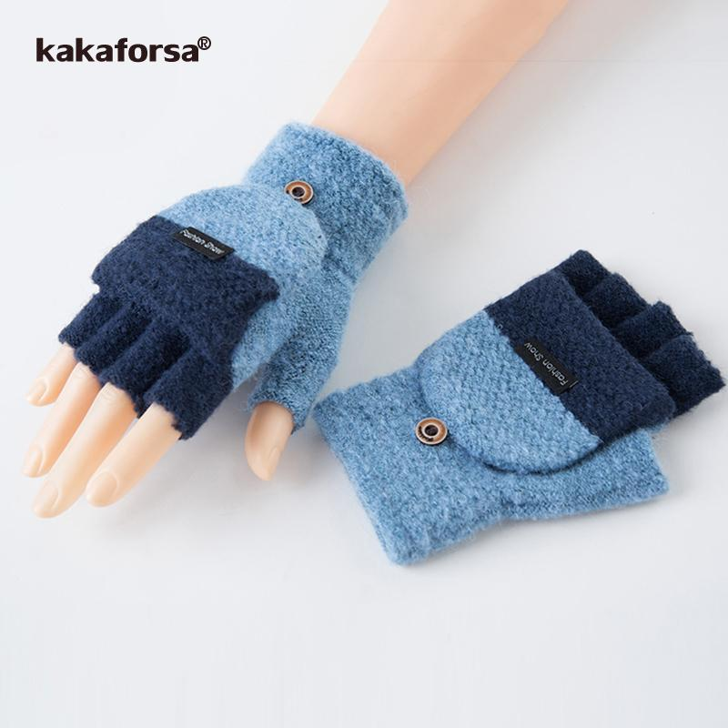 Kakaforsa Women Thick Men Fingerless Gloves Men Wool Winter Warm Exposed Finger Mittens New Warm Flip Half Finger Glove