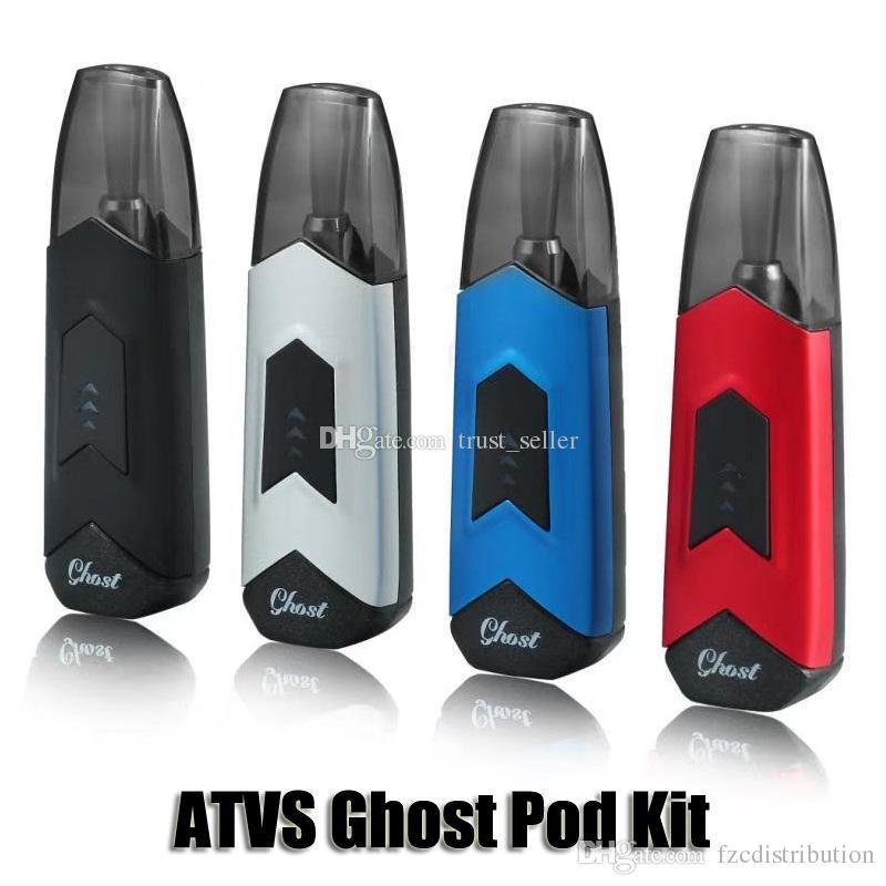 100% Original ATVS Kit Iniciado Ghost Pod Embutido 350 mah Bateria Mod 1 5  ml Vagens Cartucho Vaporizador Kit Autêntico