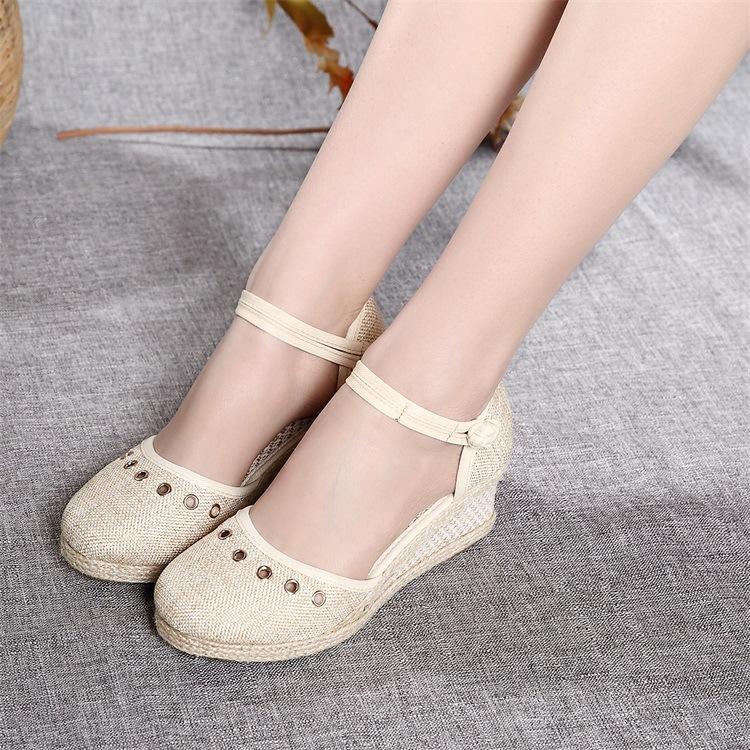 Designer Dress Shoes Summer Women Linen Close Toe Wedge Sandals
