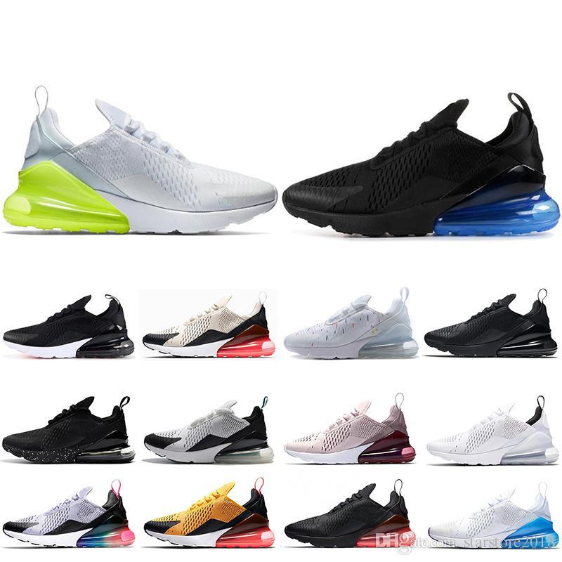 super popular b3110 98ada Acheter Nike Air Max 270 Chaussures De Course Pour Hommes BE TRUE Triple Blanc  Noir Noir Blanc Volt Bruce Lee Femmes Baskets Formateurs De Chaussures De  ...
