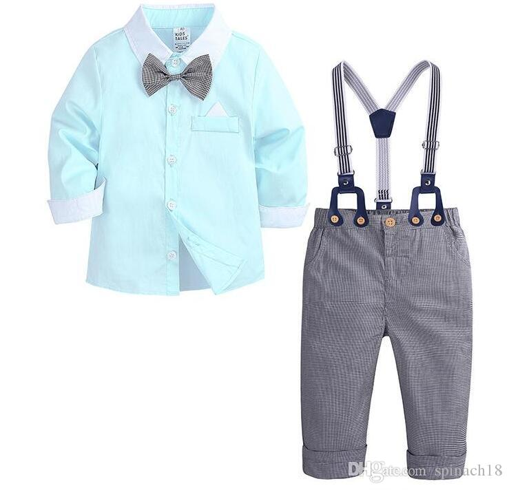 4ed6a8b00758 2019 New Spring Autumn Infant Baby Boys Set Kids Bow Tie Long Sleeve ...