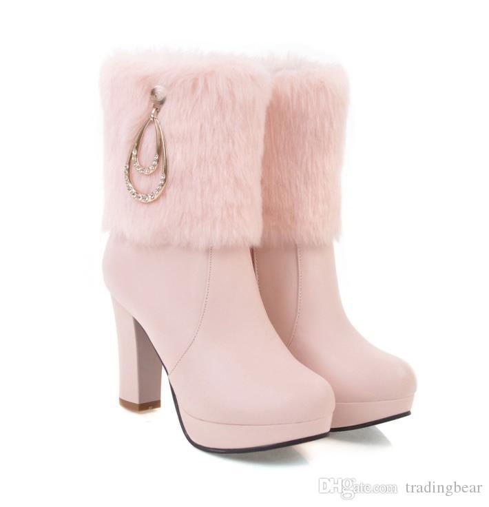 kutu boyutu ile 35-42 43 beyaz kürk botları gelinlik ayakkabı ayak bileği patik lüks tasarımcı kadın botları