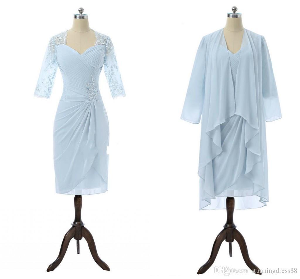 Kleid spitze knielang hellblau