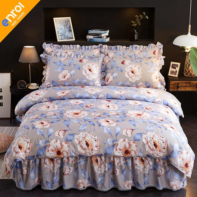 Hot Sale 4pcs Beding Set Comfortable Cheap High Quality Bedding Set Duvet Cover Bed Skirt And Pillowcases Large Size