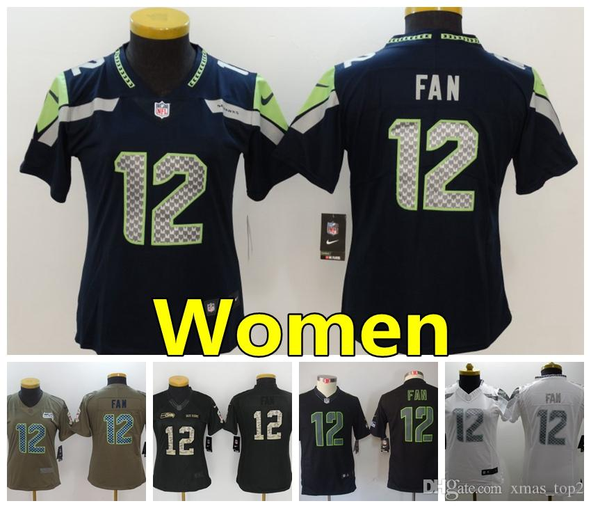 super popular d9f83 af57b Women 12 12th Fan Seattle Seahawks Football Jersey 100% Stitched Embroidery  12th Fan Color Rush Women Football Shirts Salute To Service