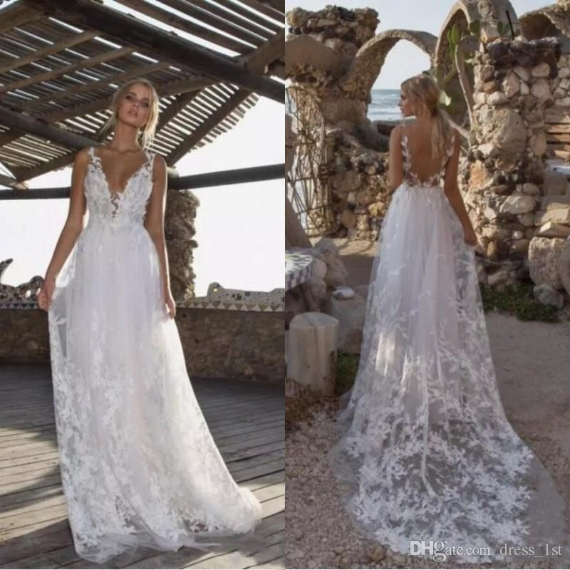 02dd87195db Discount 2019 Modern Sexy Beach Wedding Dresses Sheer Straps Backless A  Line Sweep Train Pretty Lace And Tulle Gorgeous Summer Bridal Gowns Bridal  Lace ...