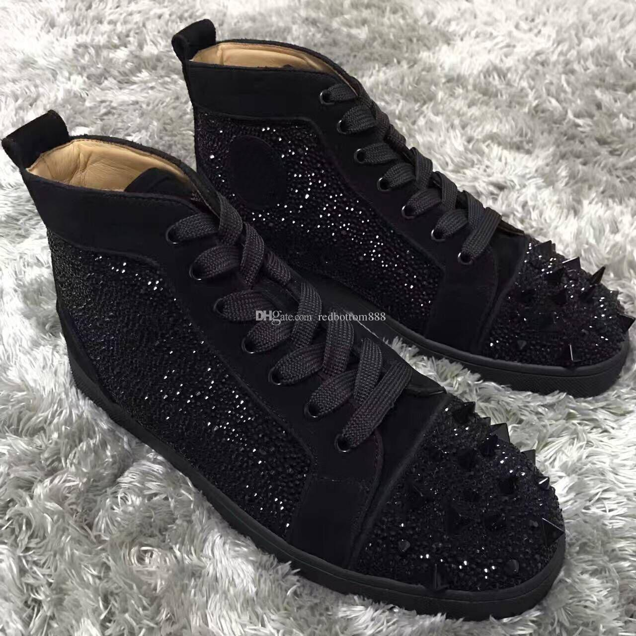 Brand Designer High Top Red Bottom Mens Luxury Pik Pik Spikes Men Women Suede Leather Strass Sneakers Lace Up Casual Shoes Eu35 46 Free Sh
