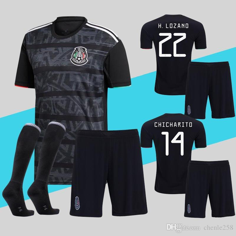 02b50e03822 2019 Mexico Kids Jerseys Adult Mens Kit 2019 Gold Cup Child Soccer Uniform  Home Black CHICHARITO LOZANO Youth Football Uniforms Set From Chenle258