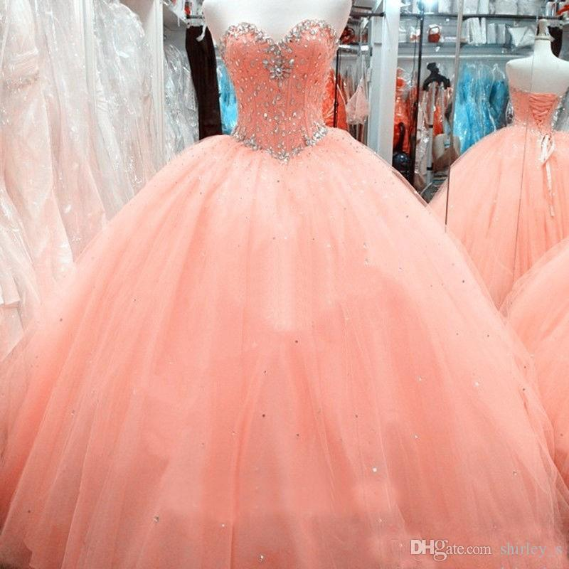 Custom Made Cheap Girls Sweet 15-16 Debutantes Dresses Ball Gowns Sweetheart Corset Peach Tulle Beaded Neck Prom Gowns Quinceanera Dresses