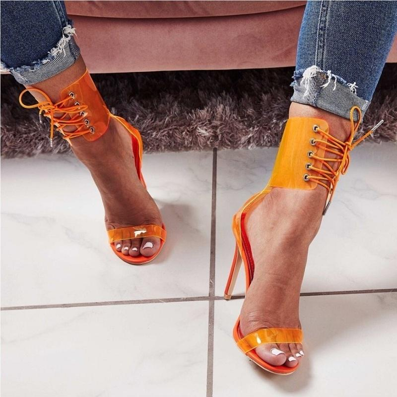 cb17eebb1610 Summer High Heels Jelly Transparent Sandals Women Sexy Clear Open Toe Lace  Up Shoes Ladies Gladiator Cross Tied Stiletto Sandals Nude Shoes Womens  Sandals ...