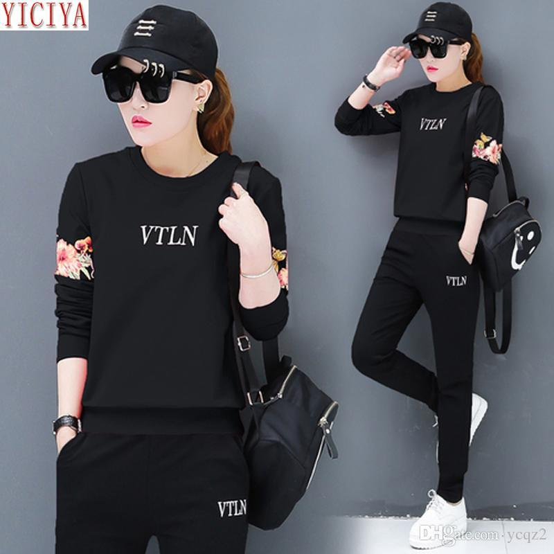 YICIYA Tracksuits Black Set Women Pant Suits And Top Outfits Plus Size  Large Co-ord Set Autumn Winter Sportswear Clothes Online with  31.74 Piece  on Ycqz2 s ... 4bdef44c580b