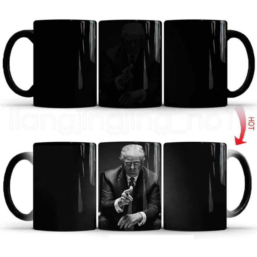 Donald Trump Ceramic Coffee Mugs Color Changing Magic Heat Sensitive Tea Milk Cup Creative Coffee Tea Mugs RRA2048