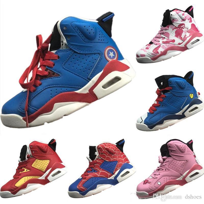 size 40 e745a eae0a Kids 6s 6 Scarpe da pallacanestro alte per ragazzi Scarpe da ginnastica per  atletica Spiderman Bambino Sport bambini Scarpe per bambini
