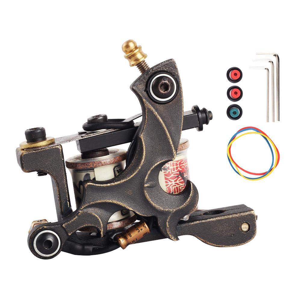 Prime à la main machine à tatouer en cuivre pur de haute qualité 10 bobines de pellicule de machine de tatouage pour Liner Body Art Gun Tool Maquillage