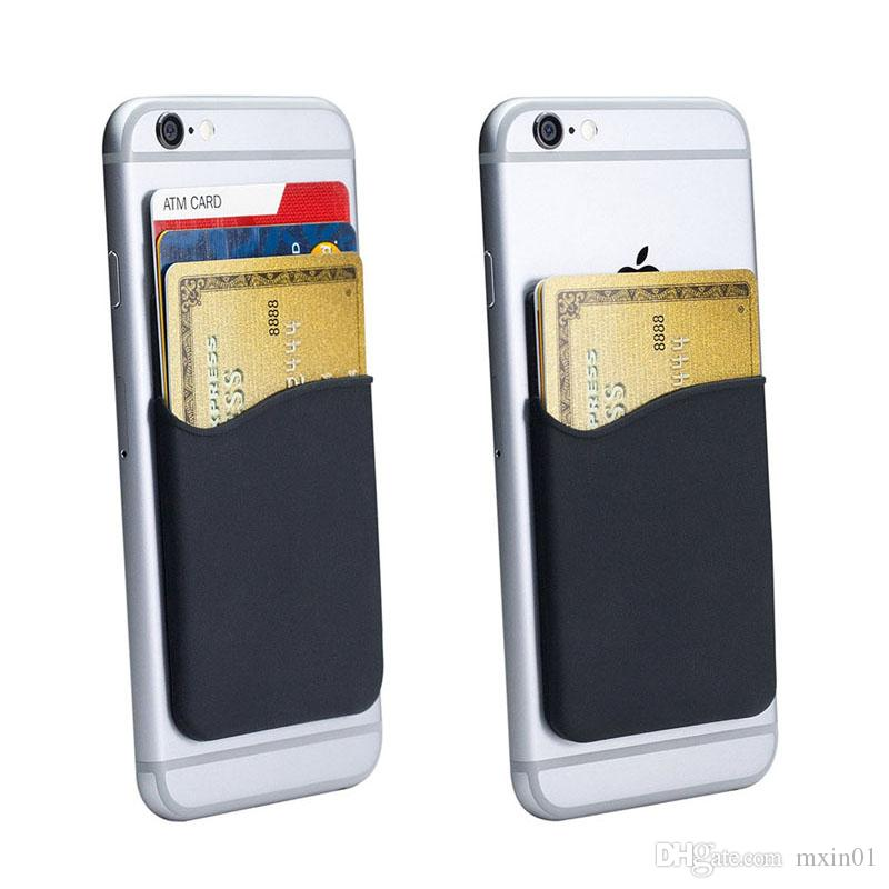 Silicone Wallet Credit Card Cash Pocket Sticker 3M Adhesive Stick-on ID Holder Pouch For iPhone Samsung Huawei XiaoMi LG MOTO Mobile Phone