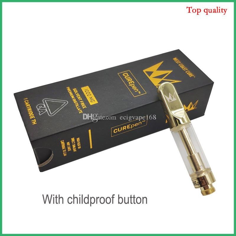 New Curepen Cartridges West Coast Cure Vape Pen Atomizer Th210 Th205  Ceramic Coils Carts with Childproof Box Flavors Stickers