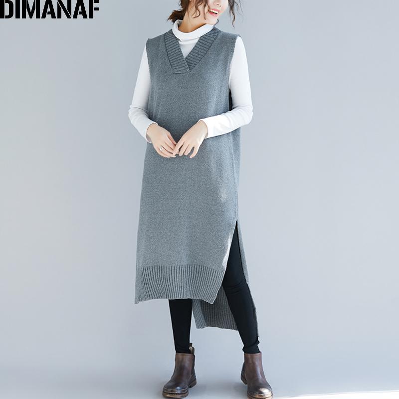 4c48aab9d9 Compre DIMANAF Plus Size Vestido Longo Mulheres De Inverno De Malha De  Algodão Senhora Elegante Camisola Vestidos Com Decote Em V Sem Mangas Solta  Casual ...