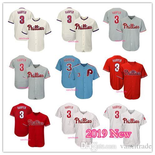 91fa6a34a 2019 2019 New Phillies 3 Bryce Harper Jersey Philadelphia Litter Blue White  Cream Red Grey Flexbase Cool Base Man Women Baseball Jerseys From  Vancltrade