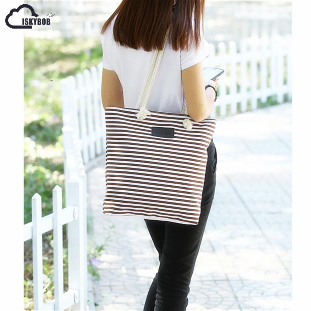 2019 Fashion ISKYBOBGirl Leisure Summer Canvas Shopper Shoulder Bag Striped  Beach Bags Big Capacity Tote Women Ladies Casual Shopping School Bags  Messenger ... 06cad22233c0d