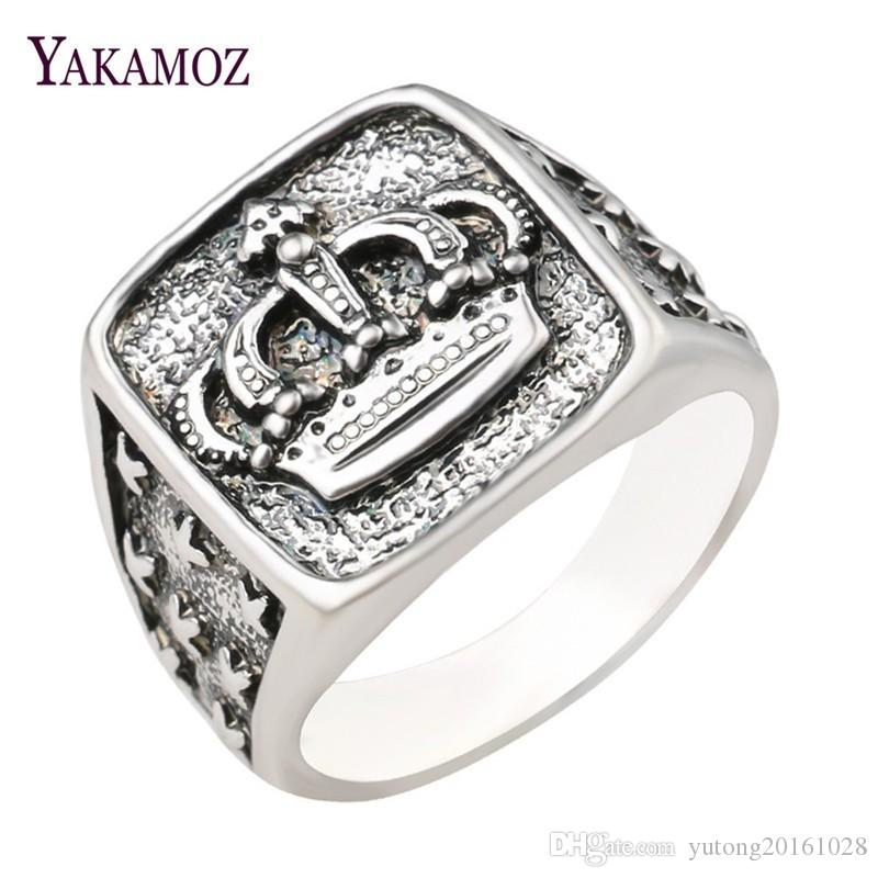 0ec6f232af 2019 YAKAMOZ New Arrival King Queen Crown Signet Ring For Men Women Vintage  Silver Color Carving Stars Punk Party Jewelry Gifts From Yutong20161028, ...