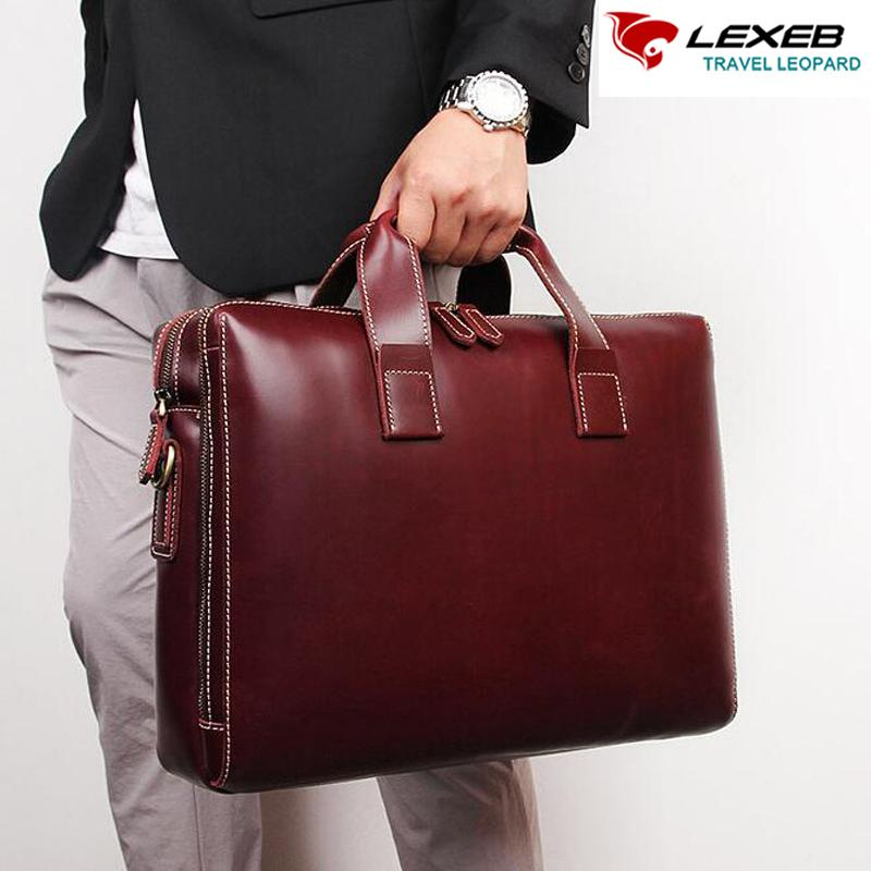 0bbcc530d13d LEXEB Brand Men S Business Briefcases Solid Genuine Leather Day Work  Messenger Bags Attached 15.6 Inches Laptop Case In WIne Filson Original  Briefcase ...