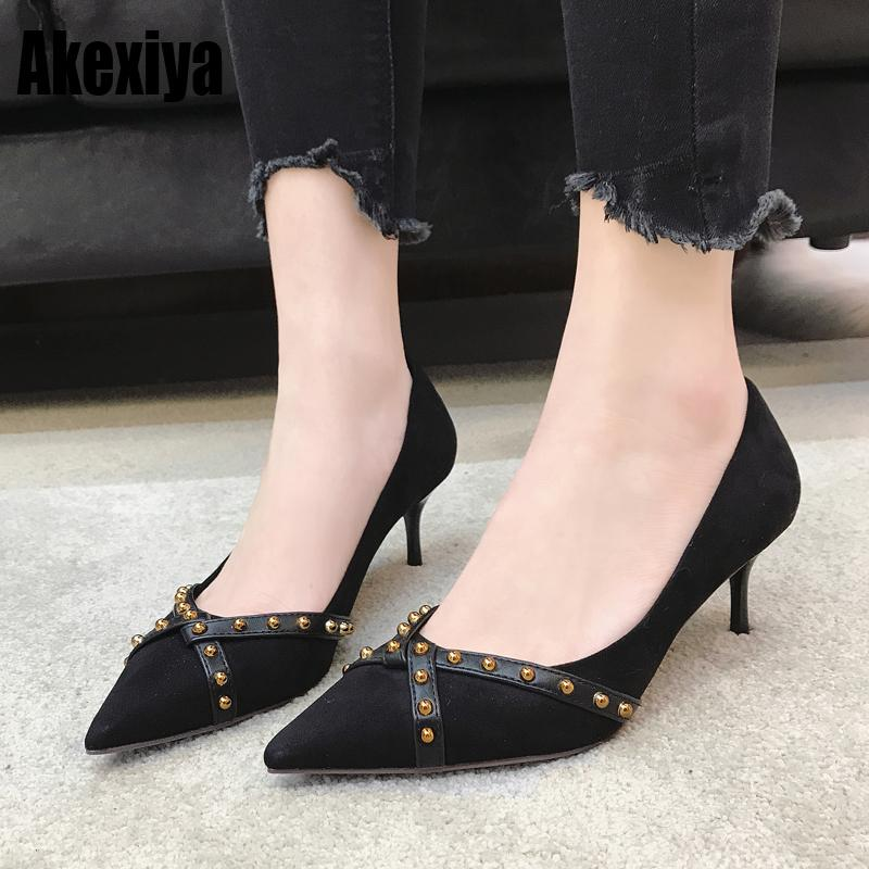 759658102 Women Sheep Anti Suede Shallow Pointed Toe Thin High Heel Fashion Rivet  Party Spring Autumn Women Pumps Black Wine Red Womens Shoes Shoes For Women  From ...