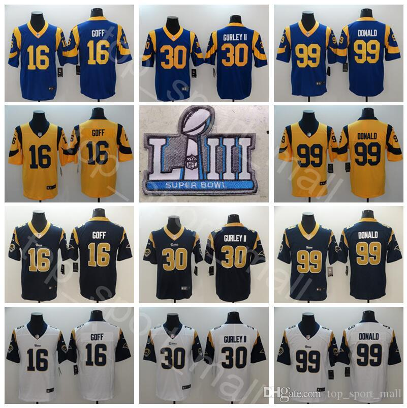 2019 Super Bowl Patch Football Los Angeles Rams 16 Jared Goff Jersey Men 30  Todd Gurley II 99 Aaron Donald 35 CJ Anderson Brandin Cooks Blue From  Vip sport 225a655da