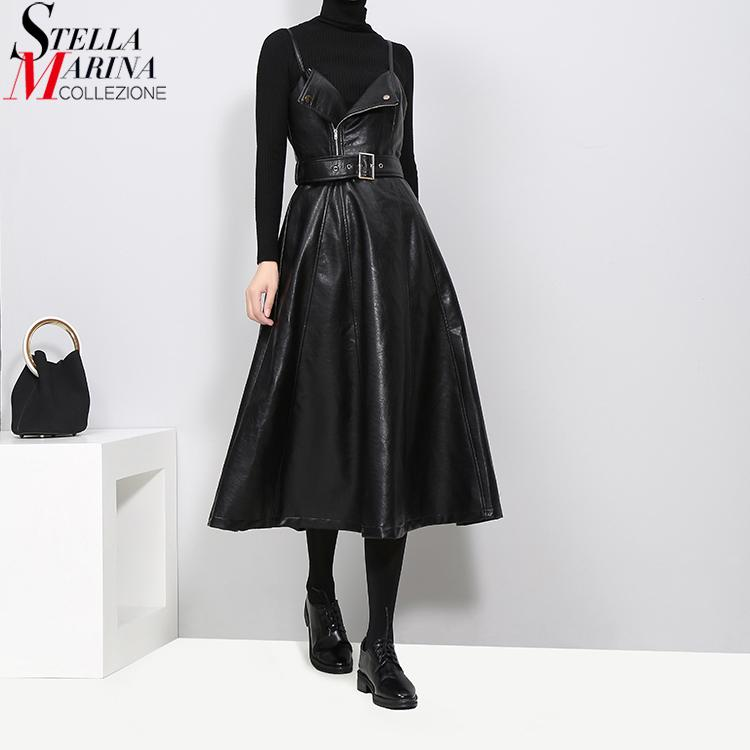 New 2019 Women Winter Faux Leather Black Midi Dress Belt A-Line Spaghetti Strap Sleeveless Night Party Club Wear Dress Robe 3014 J190425
