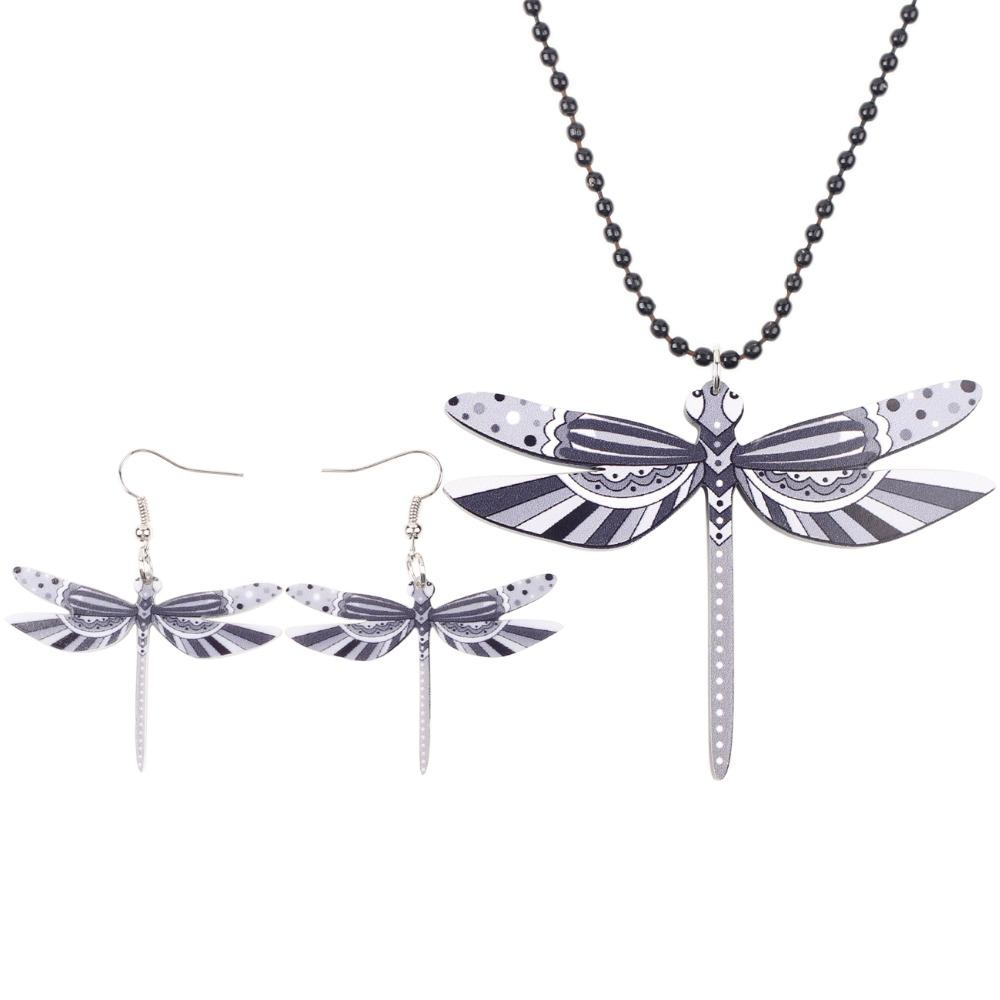 Bonsny Brand Jewelry Sets Acrylic Statement Dragonfly Necklace Earrings Choker Collar Fashion Jewelry New For Women Girl Child