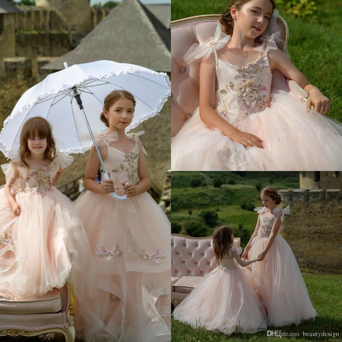 5902804fbd3 Princess Blush Pink Flower Girl Dresses For Wedding Spaghetti Beads  Appliques Kids Girls Pageant Gowns First Communion Gown Birthday Wear Party  Dresses For ...