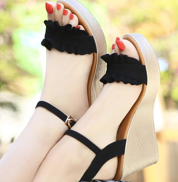 9bd0b2d1aacb Fashion Summer Shoes Womens Party Wedge Heel Sandals Pu Leather Denim Women  Sandals Non Slip Buckle Strap Shoes Salt Water Sandals Bridesmaid Shoes  From ...