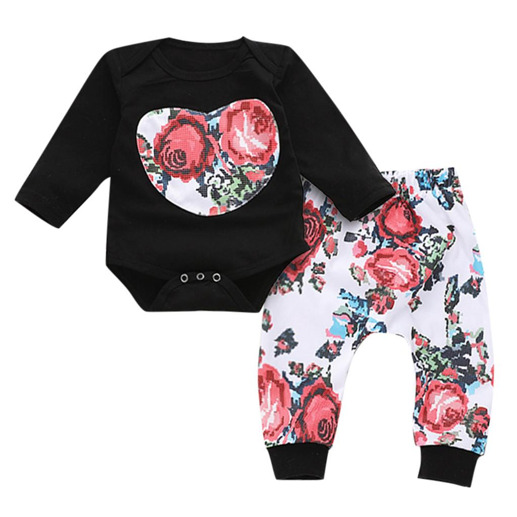 e02f1024d00f 2019 Newborn Infant Baby Clothes Set Autumn Winter Toddler Girls Clothes  Print Flower Tops Rompers Rose Pants For Girls Clothing From Cassial