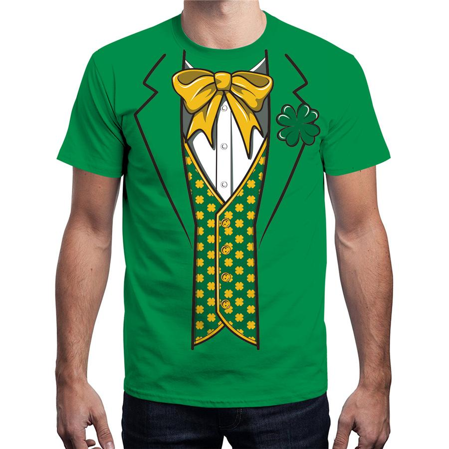 8d131fe35 Men's St. Patrick's Day T-shirts Unisex Summer Short Sleeve 3D Tuxedo Suit  Print Tees Plus Size Crew Neck Leprechaun Shirts