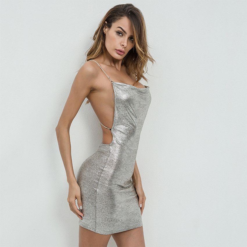 8b911e89017c Sexy Sleeveless Bronzing Silver Dresses Women Backless Sling Slim Bodycon  Dress Fashion Beaded Sexy Dress Summer Luxury Vestidos All White Summer  Dress ...