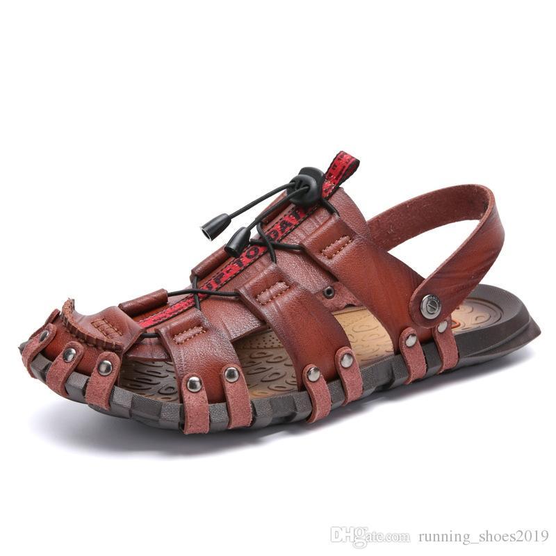 30cf342670b84e Acheter Classique D'été Chaussures De Plage Hommes Sandales En Cuir ...