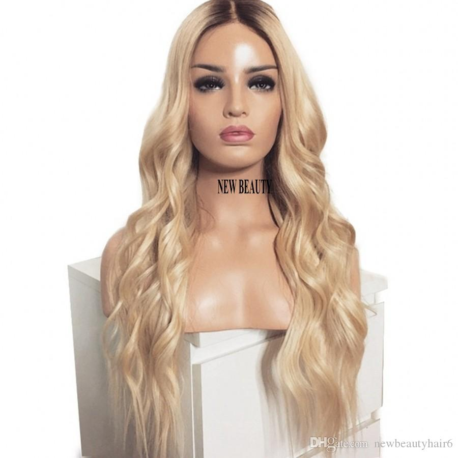 Hot beautiful long loose wave Simulation Human Hair wig africa american women style ombre blonde lace front wig synthetic heat resistant