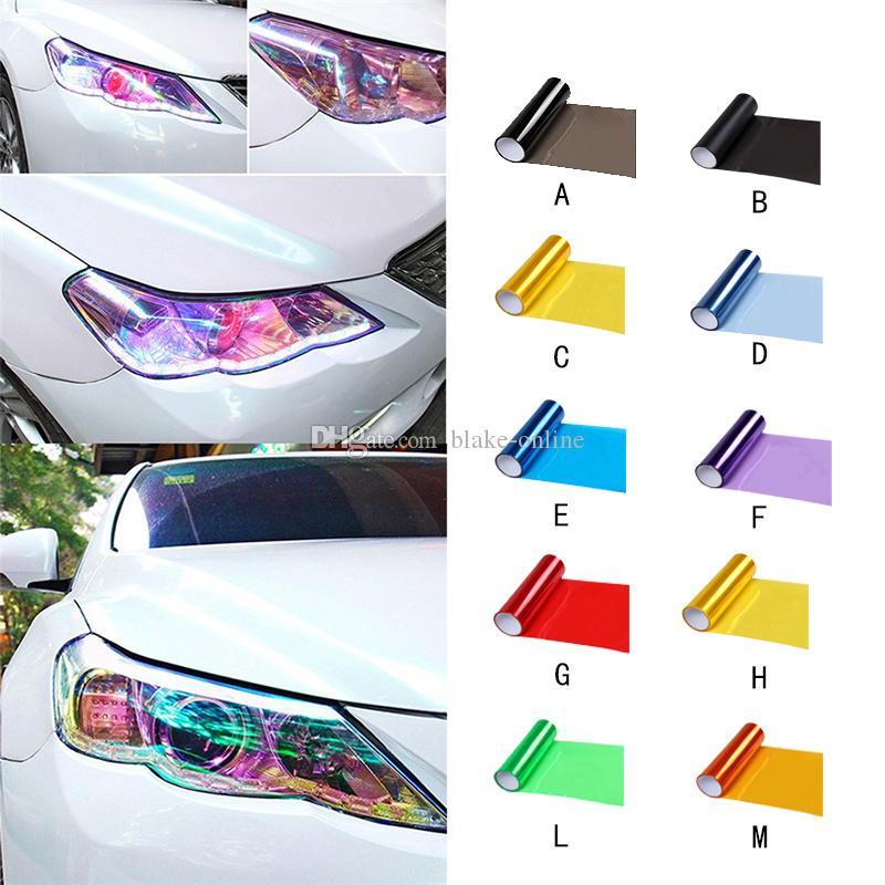 """12/""""x24/"""" Car Fog Light Headlight Taillight Tint Vinyl Color Film Sheet Sticker US"""