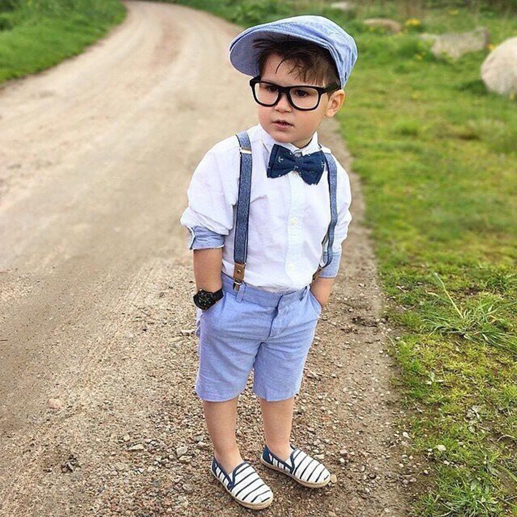 5efbb26a754e 2019 Toddler Boy Summer Clothes Kids Baby Clothes Shirt+Shorts Pants Gentleman  Party Kids Outfit Suit Easter Fortnight Costume From Sunmye