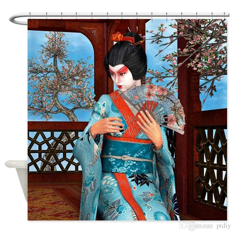 Geisha Shower Curtain Decorative Fabric Shower Curtain
