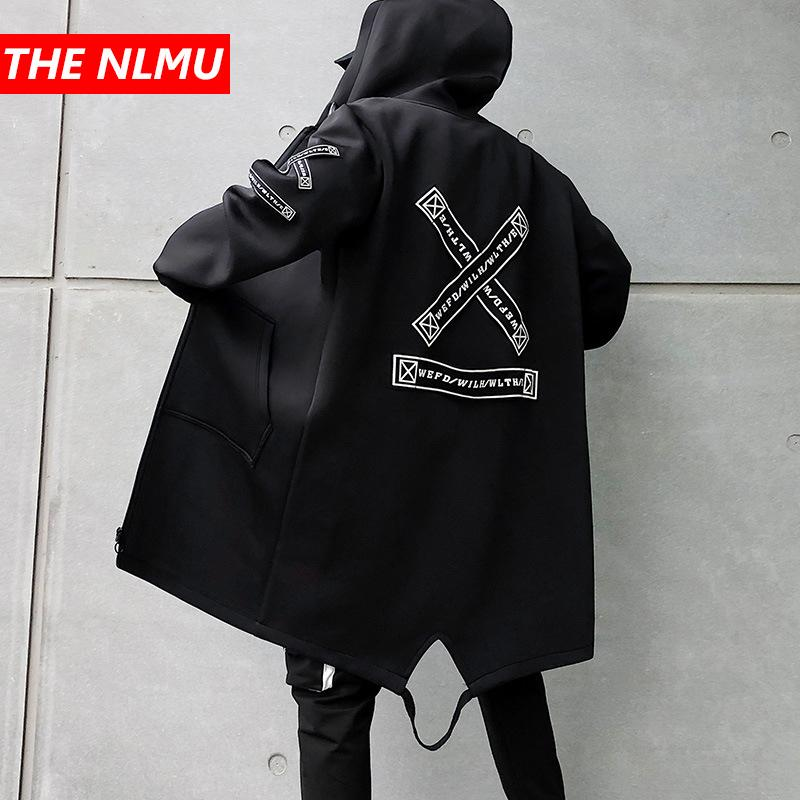 Long Jacket Men Print Fashion 2019 Spring Harajuku Windbreaker Overcoat Male Casual Outwear Hip Hop Streetwear Coats Wg198 SH190821