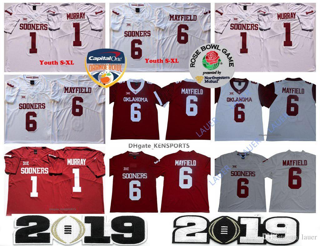 outlet store ff5b0 d067c Men s Youth Heisman Baker Mayfield Rose Bowl Patch Jersey Oklahoma Sooners  Kyler Murray 2019 Champions Orange Patch Stitched College Jerseys
